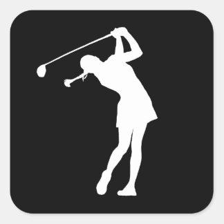 Lady Golfer Silhouette Sticker Black