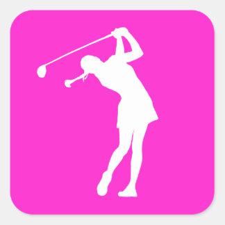 Lady Golfer Silhouette Sticker Pink