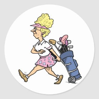 Lady Golfer Tshirts and Gifts Round Sticker