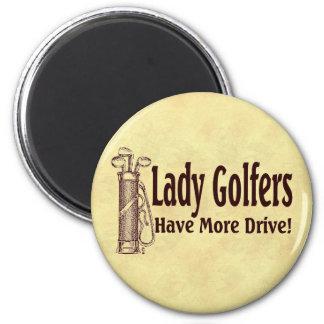 Lady Golfers 6 Cm Round Magnet