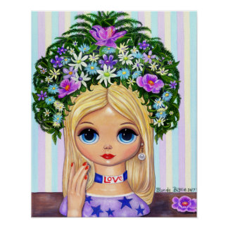 Lady Head Vase Love 1960s Blythe Flower Child Poster