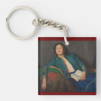 Lady Holding a Book Keychain