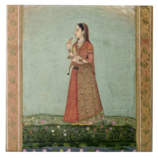 Lady holding a bowl of roses, from the Small Clive Large Square Tile
