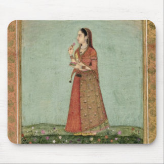 Lady holding a bowl of roses, from the Small Clive Mouse Mat