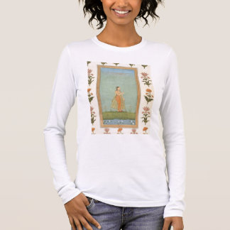 Lady holding a flower, standing by a lily pond, fr long sleeve T-Shirt