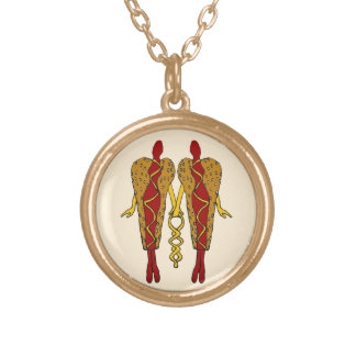 Lady Hot Dogs Round Pendant Necklace