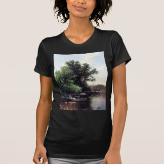Lady in a boat antique painting tee shirts