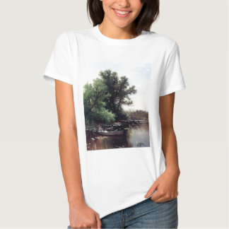 Lady in a boat antique painting tees