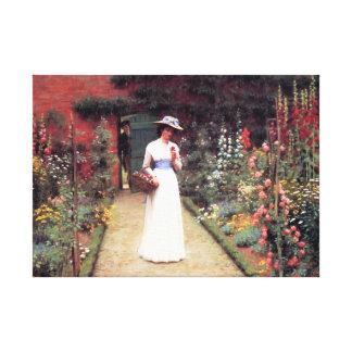 Lady in a Garden Gallery Wrap Canvas