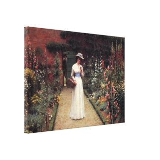 Lady in a Garden Painting by Leighton Gallery Wrap Canvas