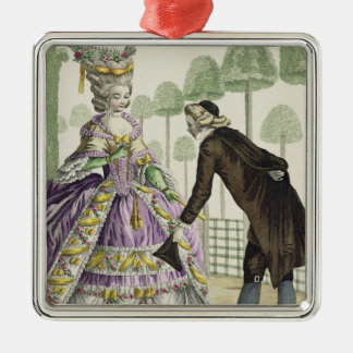 Lady in a Lilac Dress Promenades in the Gardens of Christmas Ornament