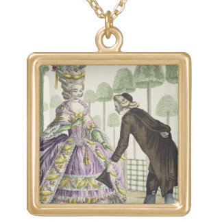 Lady in a Lilac Dress Promenades in the Gardens of Gold Plated Necklace