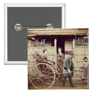Lady in a rickshaw, c.1890s (coloured photo) 15 cm square badge