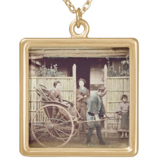 Lady in a rickshaw, c.1890s (coloured photo) gold plated necklace