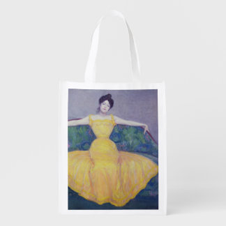 Lady in a Yellow Dress 1899 Reusable Grocery Bags