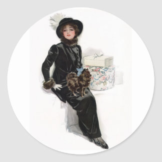 Lady in Black Classic Round Sticker