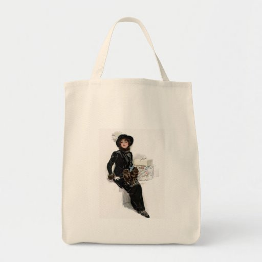 Lady in Black Grocery Tote Bag