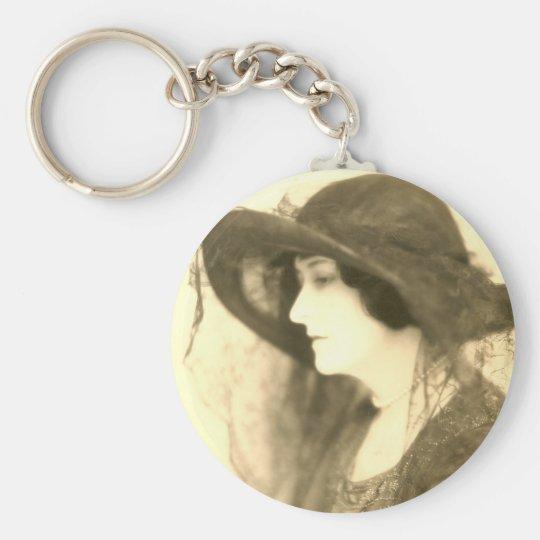 lady in black hat keychain