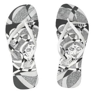 Lady in black on flip flops