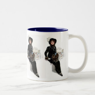 Lady in Black Two-Tone Coffee Mug