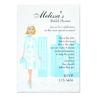 Lady In Blue 13 Cm X 18 Cm Invitation Card
