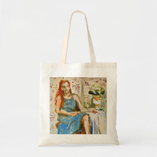 Lady in Blue oil painting paper tote bag