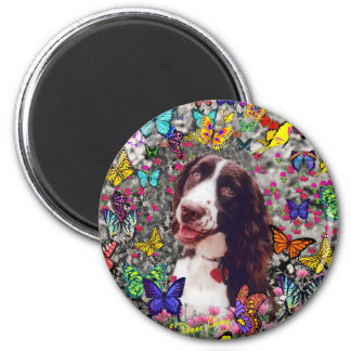 Lady in Butterflies  - Brittany Spaniel Dog 6 Cm Round Magnet