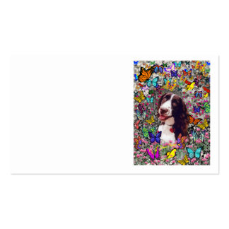 Lady in Butterflies  - Brittany Spaniel Dog Business Card Templates