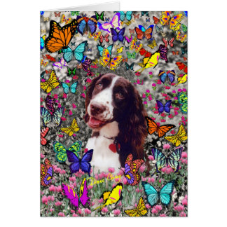 Lady in Butterflies  - Brittany Spaniel Dog Cards