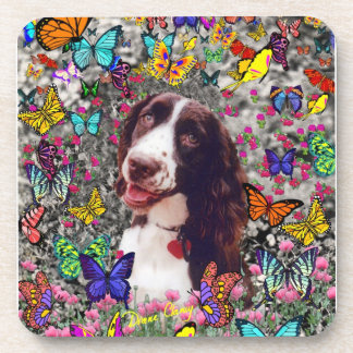 Lady in Butterflies - Brittany Spaniel Dog Coaster