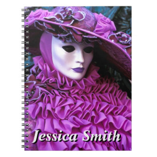 Lady In Carnival Costume With Purple Hat Spiral Note Books