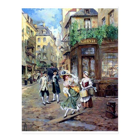 Lady in Europe antique painting Postcard