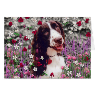 Lady in Flowers - Brittany Spaniel Dog Greeting Card