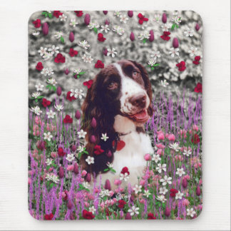 Lady in Flowers - Brittany Spaniel Dog Mouse Pad