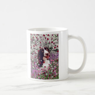Lady in Flowers - Brittany Spaniel Dog Coffee Mugs