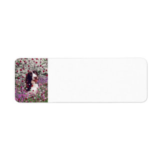 Lady in Flowers - Brittany Spaniel Dog Return Address Label