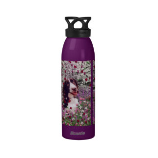 Lady in Flowers - Brittany Spaniel Dog Drinking Bottles