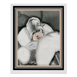 """Lady in Fur"" Art Deco Poster 16 x 20"