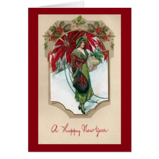 Lady in Green Old Fashioned New Year Card