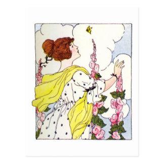 Lady in Hollyhock Garden Postcard