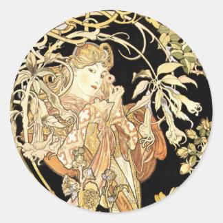 Lady in Jasmine Vines Round Sticker