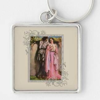 Lady In Pink Dress With A Gentleman Key Ring