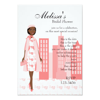 Lady In Pink 13 Cm X 18 Cm Invitation Card