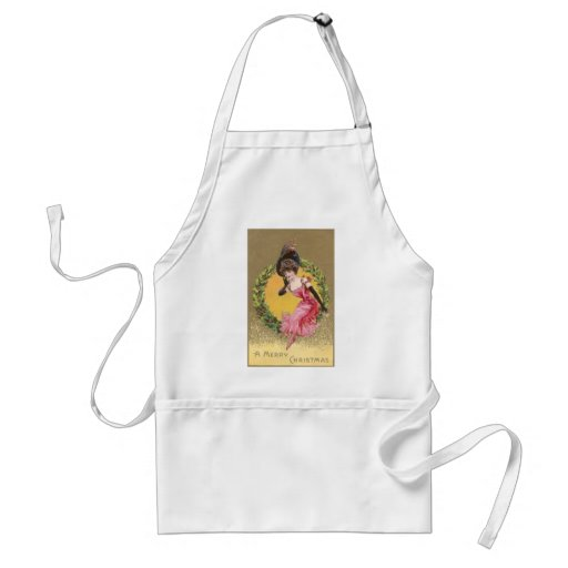 Lady in Pink Sitting on Holly Wreath Christmas Aprons