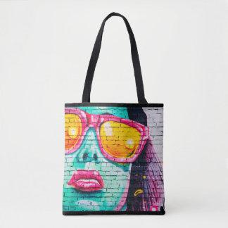 Lady in Pink Sunglasses Art Graffiti Tote Bag