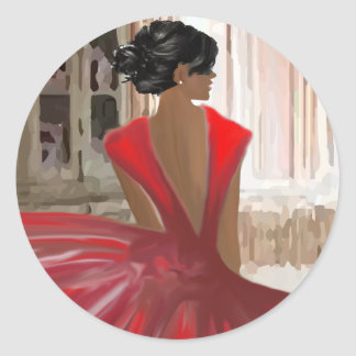 Lady in Red Classic Round Sticker
