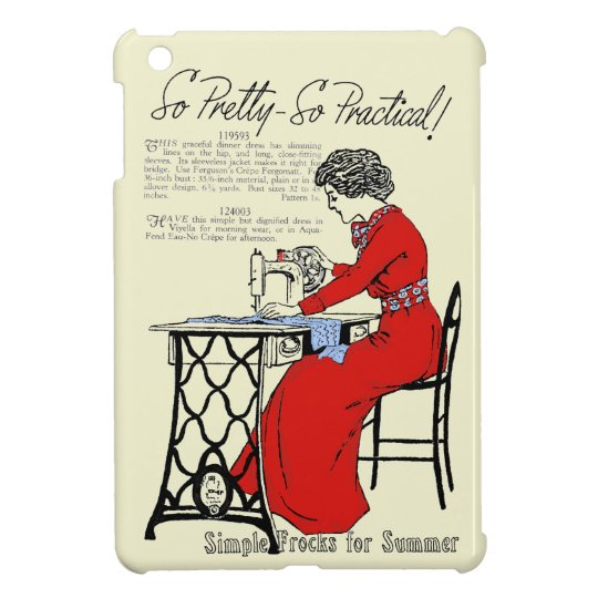 Lady in red dress at vintage sewing machine