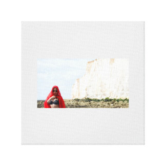 Lady in Red-On The Rocks Canvas Print