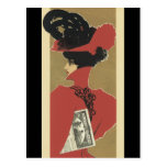 Lady in Red with Black Feathers Post Card