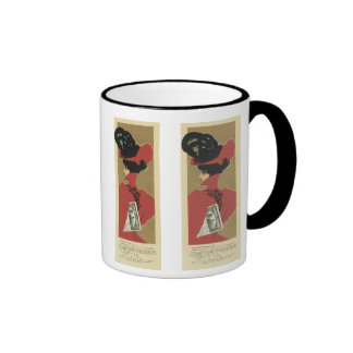 Lady in Red with Black Feathers Ringer Mug